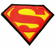 Superman Hero Cartoon Patches Black 8.5x6.5 Cm Iron on / Sew on Patch