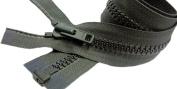 Sale 90cm Vislon Jacket Zipper YKK #8 - Heavy Weight Moulded Plastic Separating Colour 567 Black Olive Green