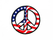 PEACE sign symbol (USA FLAG) logo Embroidered IRON ON PATCH/SIAMD.D.