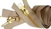 YKK Parka Zipper 90cm #5 Brass (Special) Medium Weight - 2 Way Separating ~ Colour Light Beige 573