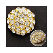 18mm Rhinestone Dome Button with Shank, Crystal/Gold by each