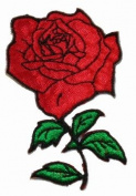 Red Rose W/ Stem Iron On Applique Patch