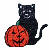 ID #0814 Black Cat Pumpkin Jack O Lantern Halloween Trick Treat Iron on Applique Patch