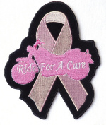 Ride for Cure Pink Breast Cancer Ribbon Biker [13cm ] Patch