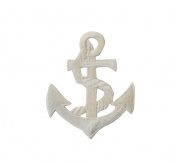 ID #2606 Nautical White Anchor Ship Marine Embroidered Iron On Applique Patch