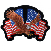 Hot Leathers Eagle 2 Flags Patch