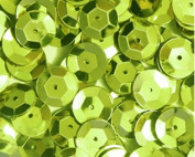 8mm CUP SEQUINS Lime. Loose sequins for embroidery, applique, arts, crafts, and embellishment.