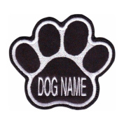 Custom Dog Name Paw (Black) Embroidered Sew On Patch