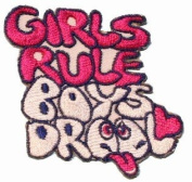 Girls Rule Boys Drool Iron On Applique Patch EP162