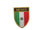 Mexico Country Flag OVAL SHIELD Embroidered Iron on Patch Crest Badge 5.1cm X 6.4cm .. New