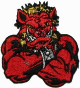 Mean Bull Motorcycle Biker Embroidered Iron On Patch Red