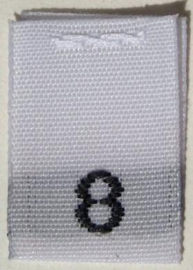 100 pcs WOVEN WHITE CLOTHING LABELS - SIZE 8