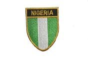 Nigeria Country Flag OVAL SHIELD Embroidered Iron on Patch Crest Badge 5.1cm X 6.4cm .. New