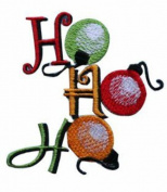 ID #8176B Ho Ho Ho Santa Christmas Ornaments Embroidered Iron On Applique Patch