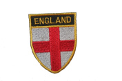 England Country Flag OVAL SHIELD Embroidered Iron on Patch Crest Badge 5.1cm X 6.4cm .. New