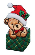 ID #8029 Teddy Bear Christmas Xmas Holiday Embroidered Iron On Applique Patch