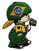 Brasil Brazil Little Boy Country Flag Embroidered Iron on Patch Crest Badge ... 7.6cm X 5.1cm .. New