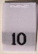 100 pcs WOVEN WHITE CLOTHING LABELS - SIZE 10