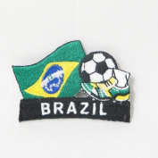 Brasil Brazil Soccer Football Kick Country Flag Embroidered Iron on Patch Crest Badge ... 5.1cm X 4.4cm .. New