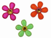 2.5cm Daisy Flower W/ Stone Jewel Iron On Applique Patches