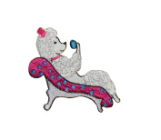 ID #2724 Poodle Dog Puppy Breed Embroidered Iron On Applique Patch 5.7cm Wide