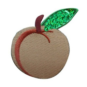 ID #1220 Peach Fruit Food Embroidered W/ Sequins Iron On Applique Patch