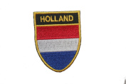Netherlands Holland Country Flag OVAL SHIELD Embroidered Iron on Patch Crest Badge 5.1cm X 6.4cm .. New