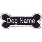 Custom Dog Name (Black Bone) Embroidered Sew On Patch