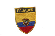 Ecuador Country Flag OVAL SHIELD Embroidered Iron on Patch Crest Badge 5.1cm X 6.4cm .. New
