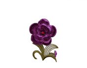 ID #6517 Soft Purple Flower Plant Iron On Embroidered Patch Applique