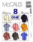 McCall's 8409 Mens Front Button Shirts Sewing Pattern Chest 34 - 44