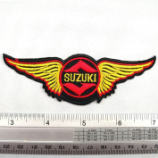 Suzuki Motorcycle Team Iron on Patch Embroidered Racing DIY T-shirt Jacket 3.8cm x 11cm Red Yellow