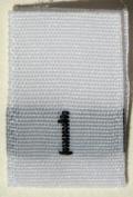 100 pcs WOVEN WHITE CLOTHING LABELS - SIZE 1