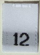100 pcs WOVEN WHITE CLOTHING LABELS - SIZE 12