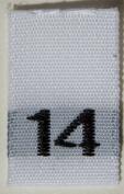 100 pcs WOVEN WHITE CLOTHING LABELS - SIZE 14
