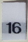100 pcs WOVEN WHITE CLOTHING LABELS - SIZE 16