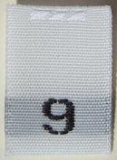 100 pcs WOVEN WHITE CLOTHING LABELS - SIZE 9