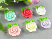 24pcs Resin Rose Back Flat Appliques/flatback Baby Craft 8colors