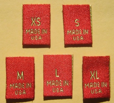 50 pcs WOVEN CLOTHING LABELS SIZE TAGS GOLD RED - XS S M L XL (10pcs each size)