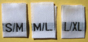 50 pcs WOVEN CLOTHING LABELS SIZE TAGS WHITE - S/M M/L L/XL