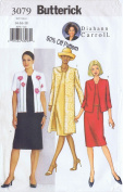 Butterick 3079 Sewing Pattern for Back Zip Sleeveless Dress with Ling or Short Jacket in Misses 14-16-18