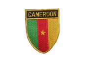 Cameroon Country Flag OVAL SHIELD Embroidered Iron on Patch Crest Badge 5.1cm X 6.4cm .. New