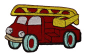 Cute Red Fire Engine Truck Retro Classic DIY Applique Embroidered Sew Iron on Patch