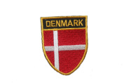 Denmark Country Flag OVAL SHIELD Embroidered Iron on Patch Crest Badge 5.1cm X 6.4cm .. New
