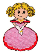 Girl Princess in Pink Dress Sew-on Iron-on Patches for Kids Children Baby Clothing Embroidered Applique