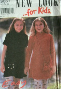 GIRLS LONG & SHORT SLEEVE DRESS & PURSE SIZES 3-4-5-6-7-8 EASY NEW LOOK FOR KIDS BY SIMPLICITY PATTERN 6661