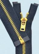Sale 13cm Brass Zipper - YKK #5 Brass Zipper Separating with Locking Pull - 560 Navy