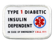 DIABETIC Type 1 Insulin Dependent Rectangle 5.1cm x 7.6cm Sew-on Patch