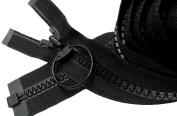90cm Sport Zipper Vislon ~ YKK #5 Moulded Plastic with Ring Pull ~ Separating - Black