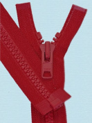 90cm Vislon Zipper ~ YKK #10 Moulded Extra-Heavy Separating - 519 Red